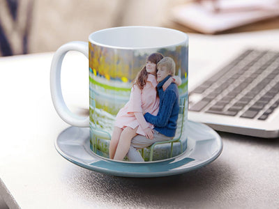 Custom Photo Mug On Desk