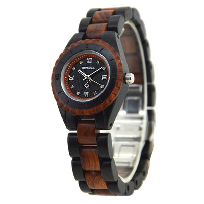 Handmade Women's Wood Watch Black & Red
