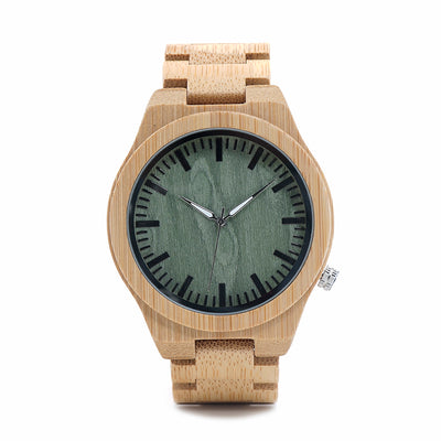 Men's Wooden Watch Green Dial Front View