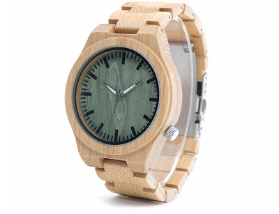 Men's Wooden Watch Green Dial Product Shot