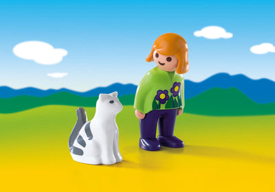 Playmobil Age 1,2,3 Woman With Cat 6975 Photo