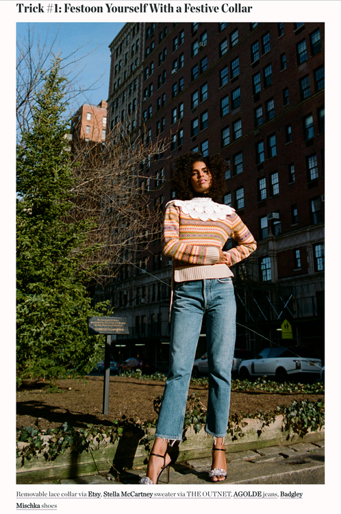Man Repeller  Harling Ross • USA • Dec 17 • 7:00 am     3 Tricks for Making Clothes You Already Have Look Festive   via Etsy, Stella McCartney sweater via THE OUTNET, AGOLDE jeans, Badgley Mischka shoes   Reach 2M