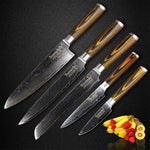 High Quality Japanese Damascus 5 Piece Knife Set