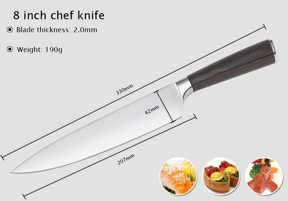 8-Inch Stainless Steel Chef Knife With Wooden Handle