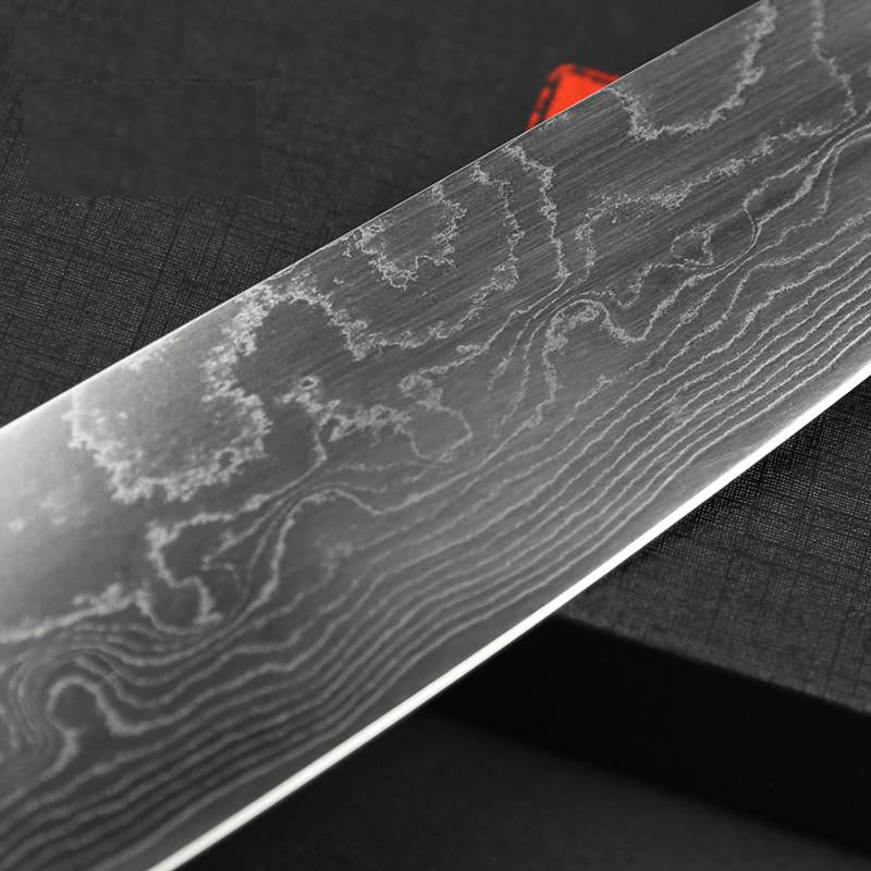 magnified Damascus Chef Knife