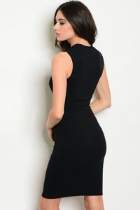 Black Ribbed Fitted Dress