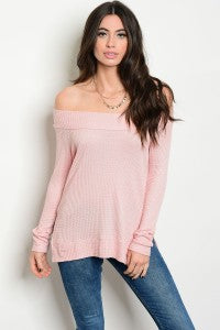 Blush Off the Shoulder Knitted Top