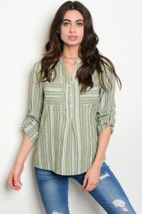 Green & Ivory Striped Long-Sleeve