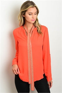 Long Sleeve Chiffon Blouse with Studded Neck Tie