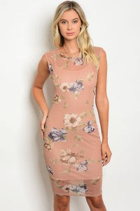 Mauve Floral Print Sheer Overlay with Nude Slip Dress