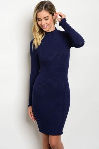 Navy Mock Neck Dress with Long Sleeves