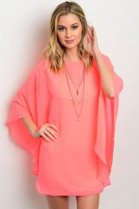 Neon Pink Shift Dress