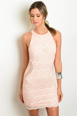 Peach Illusion Halter Dress
