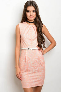 Peach Sleeveless Lace Mini Dress