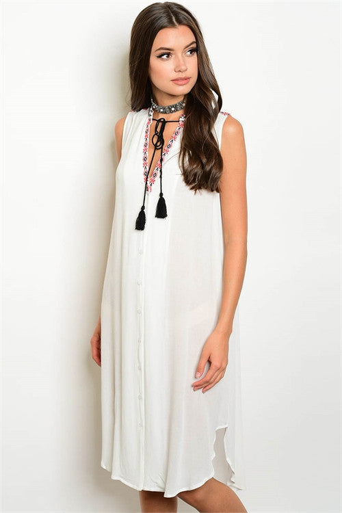 White Tunic Dress With Embroidered Neckline