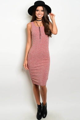 Sleeveless Ribbed Wine Mini Dress