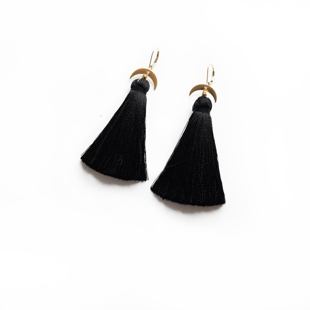 Black Moon Tassel Earrings
