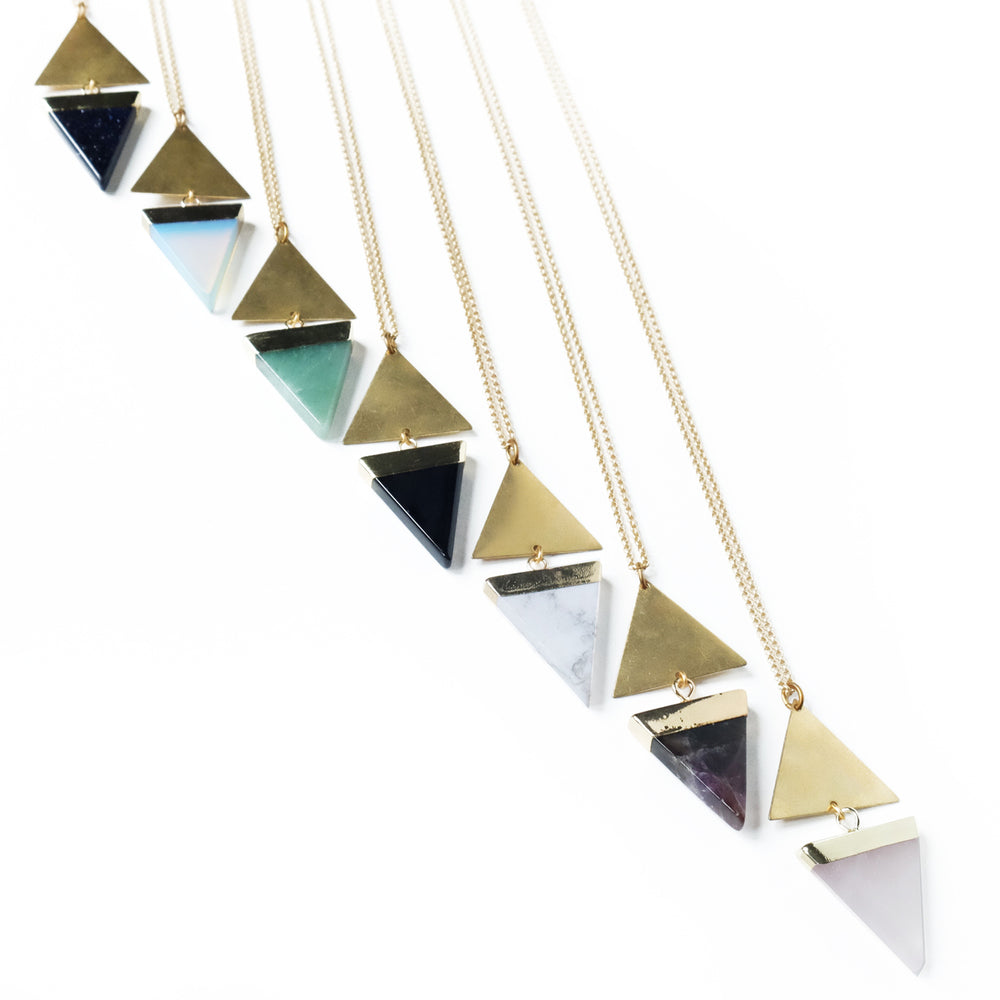 Blue Gold Stone Echo Necklace