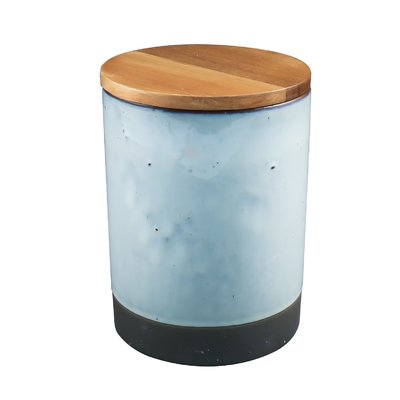 Ceramic Canister w/ Acacia Wood
