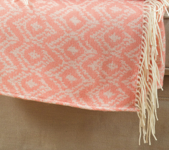 Pink Chevron Print Throw With Tassels