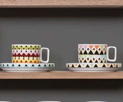 Chevron Diamonds & Stripes Tea Cups (Set of 2)