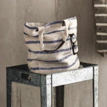 Washed Linen Striped Deep Blue Tote