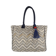 Embroidered Chevron Tote with Tassel