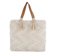Embroidered Chevron Tote with Double Tassel