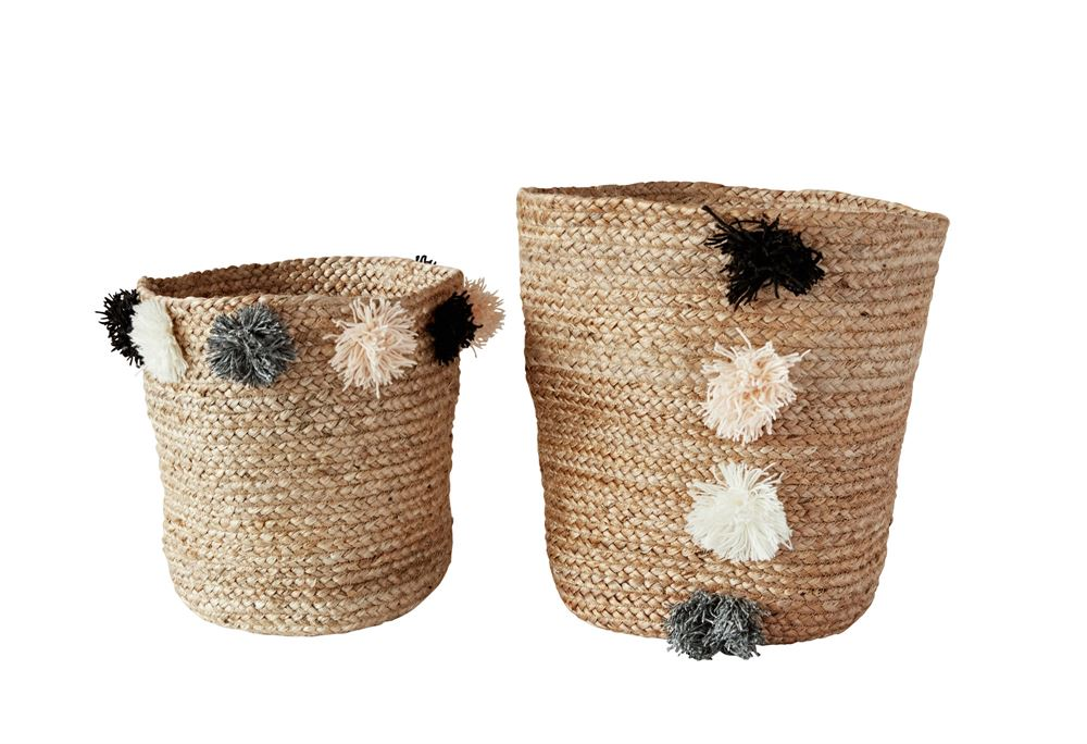 Braided Jute Basket Set with Pom Pom Detail