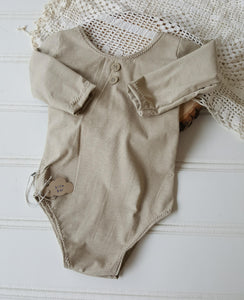 6-12 month sand long sleeve romper
