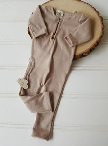 newborn beige longies playsuit