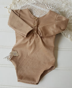 6-12 month sitter honey beige long sleeve romper