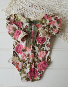 6-12 month victorian rose long sleeve romper with vintage laces