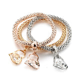 Three Piece Single Charm Bracelets (Various Pendant Styles)