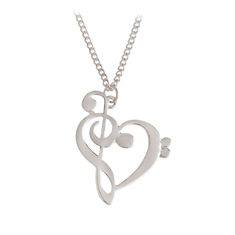 Hollow Heart Shaped Musical Note Pendant