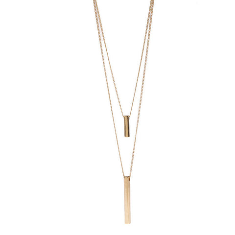 Delicate three-dimensional rectangular double necklace