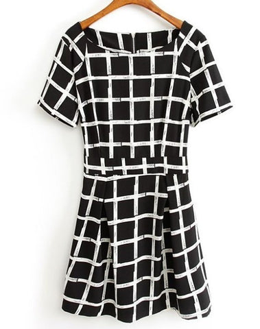 Short Sleeve Checkered Dress