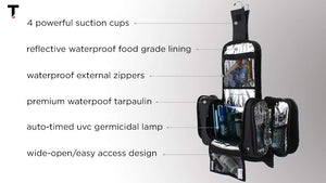 Hanging Toiletry Bag w/Anti-Germicidal UV Light Emitter, Built-in 4 Suction Cups, Water Resistant by Taskin San Francisco