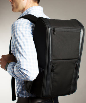 The Taskin Edge - Slim Professional Laptop Backpack for Business & Travel - Solid Black - Waterproof for Men & Women