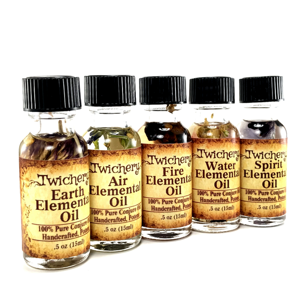 Twichery Elemental Oils are for connecting with your deities and guides within the realms of Earth, Air, Fire, Water, and Spirit Hoodoo Voodoo Wicca Pagan Traditional Witchcraft