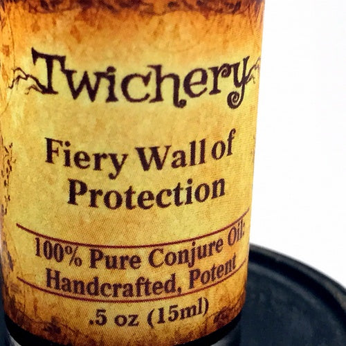 Fiery Wall of Protection: Barrier against evil. Use Twichery's Fiery Wall of Protection Oil for Overall Protection Against Dark Magic. Hoodoo. Voodoo. Traditional botanical.