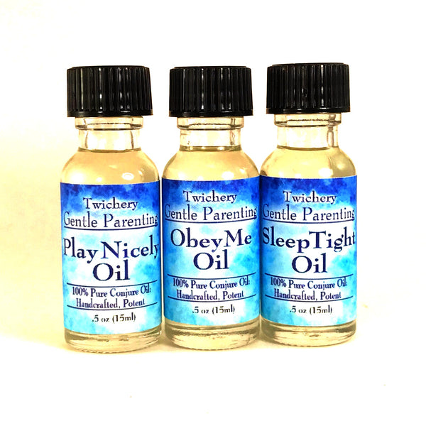 Twichery Play Nicely, Obey Me, and Sleep Tight Oils for making your parenting both gentle and magickal.