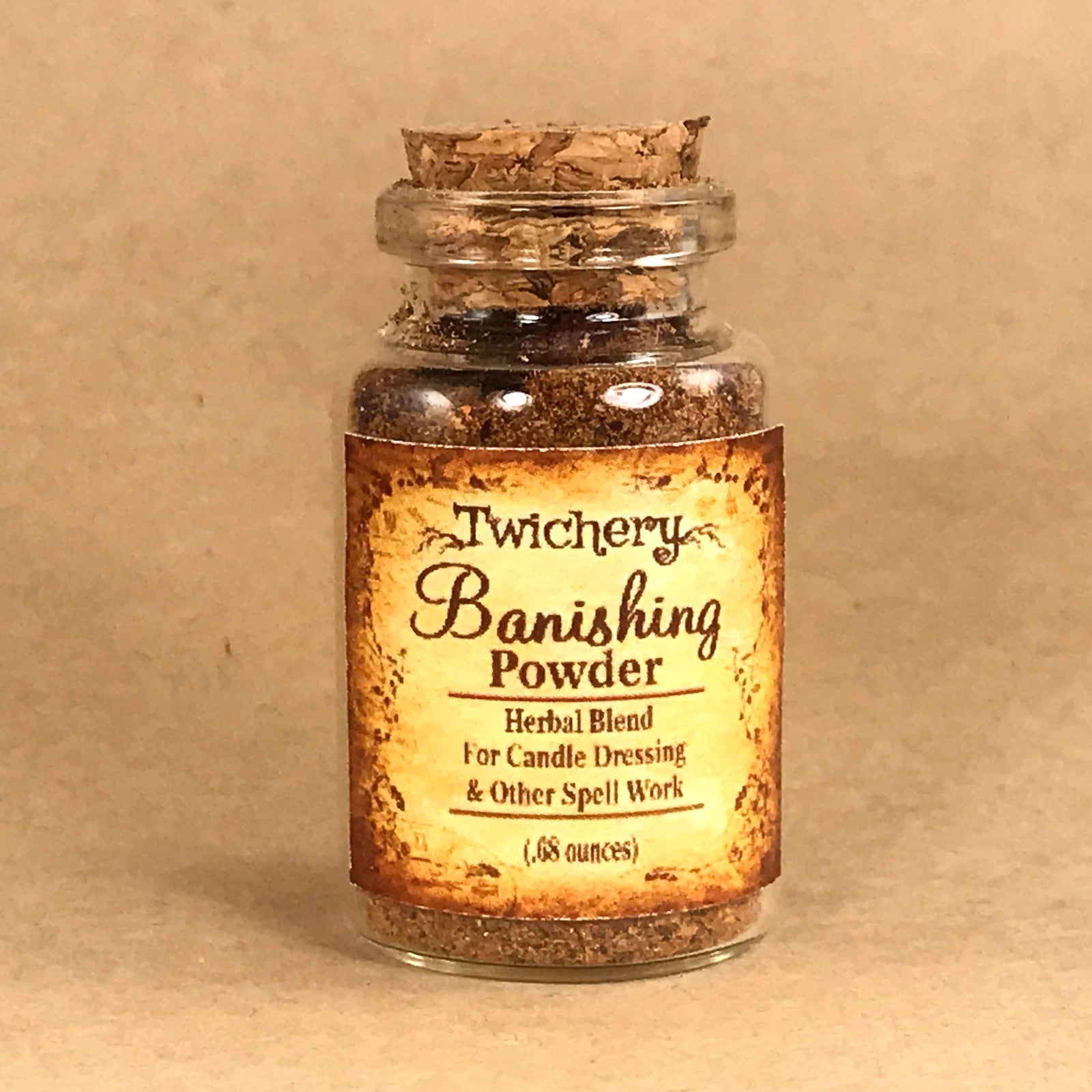 Twichery Banishing Powder is for candle dressing and spell casting involving the banishing of spirits from PLACES. Hoodoo Voodoo Wicca Pagan Traditional Witchcraft
