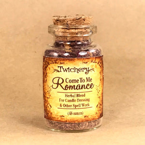 Twichery Come To Me Romance Herbal Blend is for candle dressing and spell casting. Terrific for use with any and all of our love oils. Hoodoo Voodoo Wicca Pagan Traditional Witchcraft