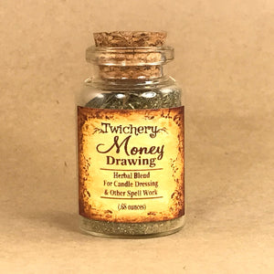 Twichery Money Drawing Herbal Blend is for candle dressing spells to bring wealth and prosperity. Excellent for use with our Shi Shi or Money Drawing Oils. Hoodoo Voodoo Traditional Witchcraft