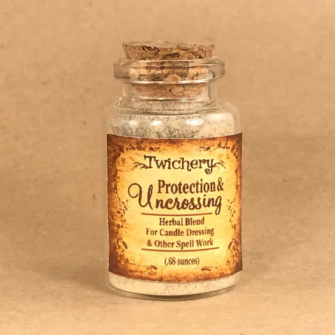 Twichery Protection & Uncrossing Herbal Blend is excellent for candle dressing with our Uncrossing Oils. Excellent for magickal defense against unwanted energies and entities. Hoodoo Voodoo Art Mojo Root Lucky Rootwork