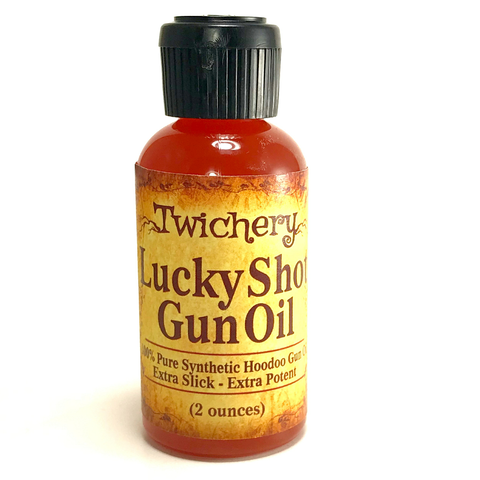 Twichery Lucky Shot Gun Oil is a full-synthetic oil for your gun that is super charged with crystals and magickal herbs.
