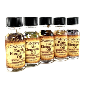 Twichery Elemental Oils Quintet is for use with all rituals involving the elements Earth, Air, Fire, Water, and Spirit. Hoodoo Voodoo, Paganism Traditional Witchcraft