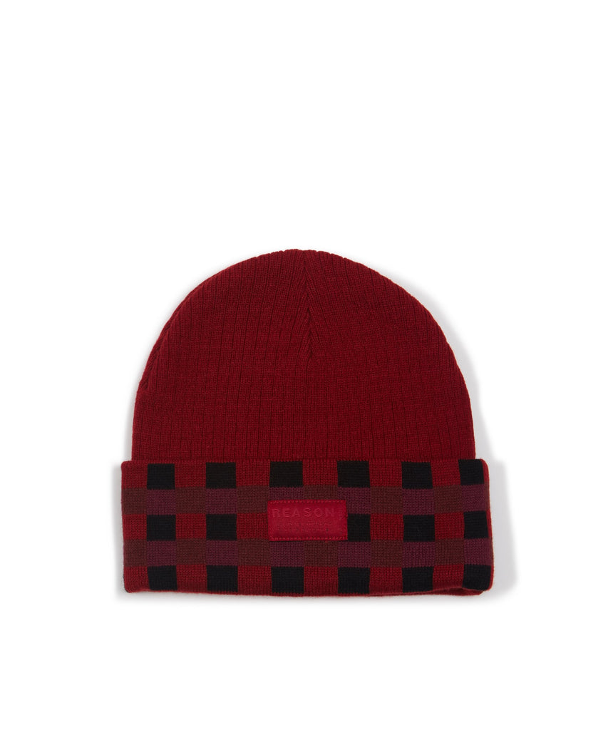 FLANNEL CROCHET BEANIE - OXBLOOD - The Plug Dallas