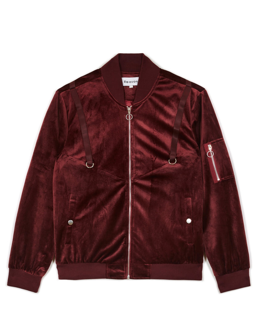 CENTAURI VELOUR BOMBER JACKET - OXBLOOD - The Plug Dallas